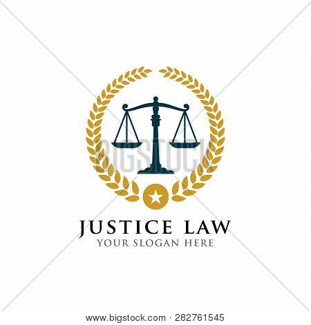 Justice Law Badge Logo Design Template With Scales Vector Illustration. Emblem Of Attorney Logo Vect