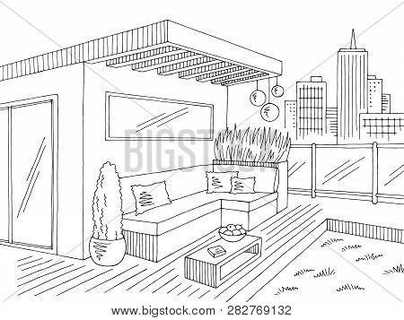 Roof Garden Graphic Black White City Landscape Sketch Illustration Vector