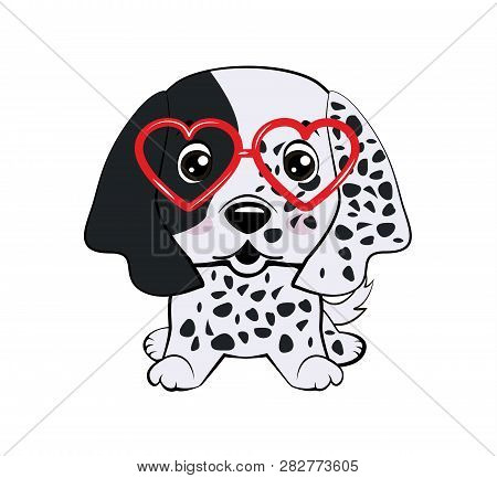 Card Of A Valentine S Day. Pug Dog In A Striped Cardigan, In A Fun Pink Heart Glasses. Vector Illust