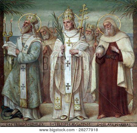 Saint Cyril, Telesphorus and Hilarius, Carmelite Saints, The Church Stella Maris, Haifa, Israel