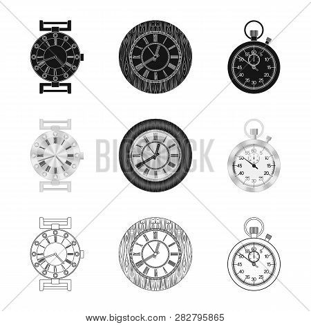 Vector Illustration Of Clock And Time Symbol. Set Of Clock And Circle Stock Symbol For Web.