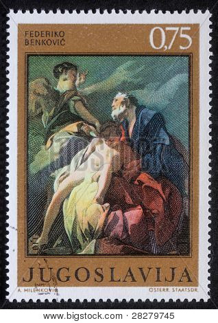 YUGOSLAVIA - CIRCA 1985: Stamp printed in Yugoslavia shows Abraham Sacrificing Isaac, circa 1985