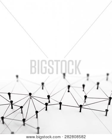 Linking entities. Monotone.Network,  networking, link, social media, SNS, internet communication abstract. Isolated on white with plenty of copyspace.
