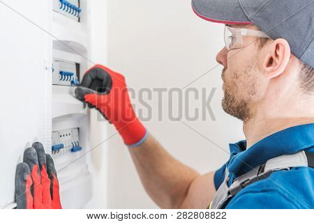 Electric Residential Fuses Box Check By Caucasian Electrician.