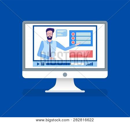 Online Courses Lead By Male Tutor Teacher On Video Vector. Isolated Icon Of Person Giving Informatio