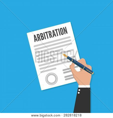 Arbitration Law Vector Flat Icon. Legal Resolution Conflict