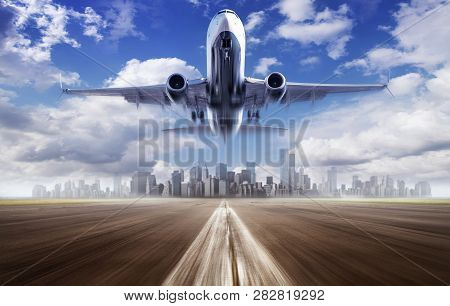 Take Off Of An Modern Airliner Against A Skyline