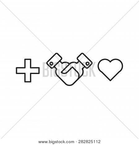 Handshake, Heart Vector Icon On White Background. Handshake, Heart Icon In Modern Design Style. Hand
