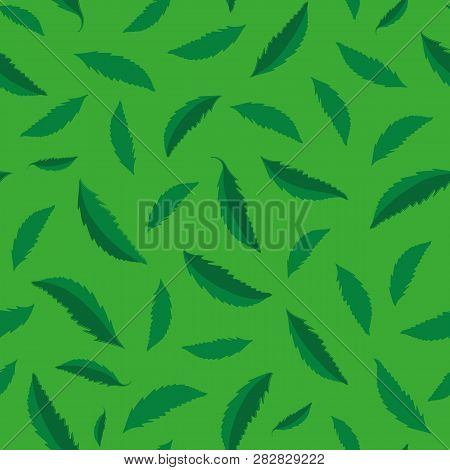 Textured Green Hand Drawn Leaves Seamless Vector Pattern. Vibrant Foliage. Perfect Coordinate Textur