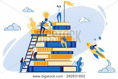 Businessman On Stack Of Books. Concept Of Leadership And Marketing Education. Business Coaching. Man