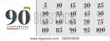 Set Of Anniversary Logotype. Premium Anniversary Celebration Emblem Design For Company Profile, Book