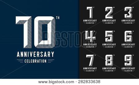Set Of Anniversary Logotype. Modern Anniversary Celebration Icons. Design For Company Profile, Bookl