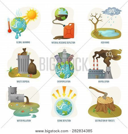 Global Warming Natural Resource Depletion Problems Vector. Waste Disposal, Air And Water Pollution,