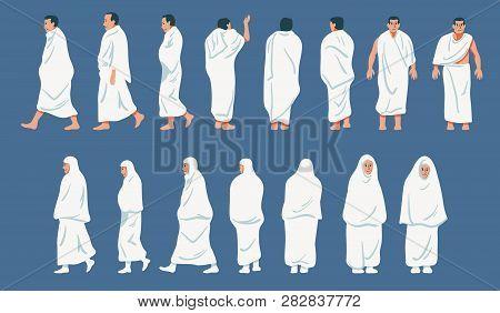 Sets Of Figurative Character Of Hajj Pilgrimage.