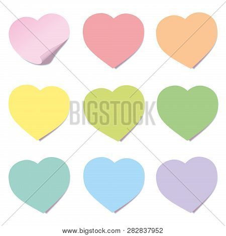 Heart Post Collection. Sticky Notes, Heart Shaped, Different Colors. Isolated Vector Illustration On