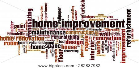 Home Improvement Word Cloud Concept. Vector Illustration On White