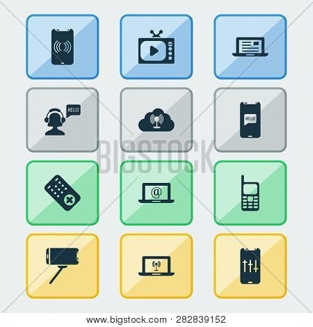 Communication Icons Set With Audio Adjustment, Communication Console, Mobile Access Point And Other