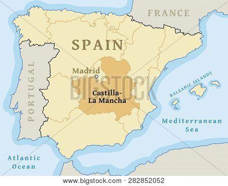 Map Of Spain La Mancha.Castilla La Mancha Vector Photo Free Trial Bigstock