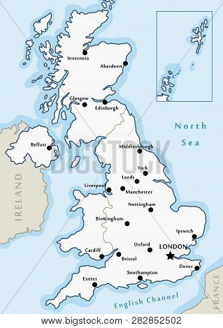 Map Of England Showing Major Cities.United Kingdom Map Vector Photo Free Trial Bigstock
