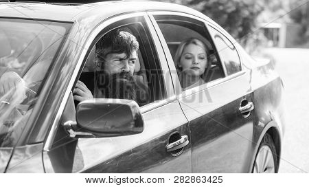 Car With Open Windows And Passenger. Business Lady Passenger Has Private Driver. Personal Assistant