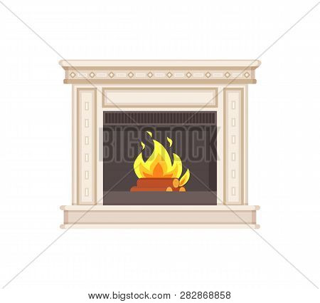 Fireplace With Classic Ornaments And Columns Isolated Icon Vector. Flames And Wooden Logs In Fire Br
