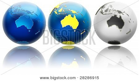 Three Different Colors Globe Variations Australia