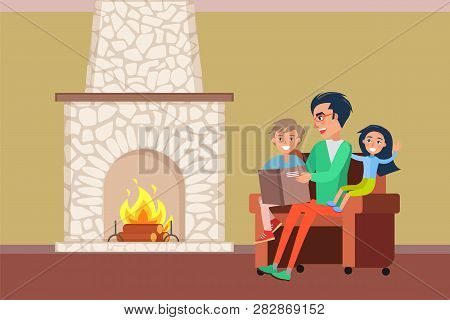 Father And Children Spending Time By Fireplace Vector. Family Evenings Of People, Daddy Reading Stor
