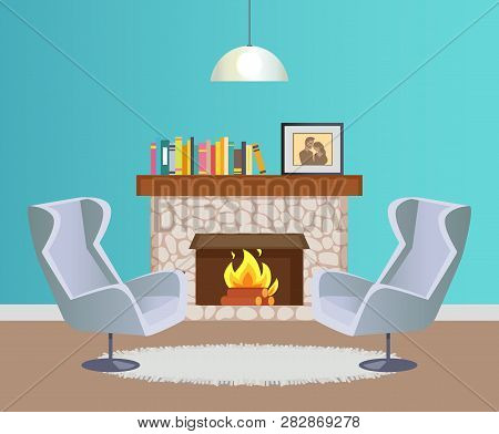 Interior Of Room In Blue Color Of Wallpaper With Hanging Lump, Fireplace With Burning Firewood Decor