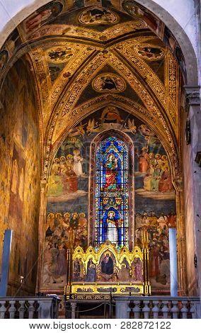 Florence, Italy - September 17, 2017 Altarpiece Redeemer Jesus Christ, Frescos, Statined Glass Windo