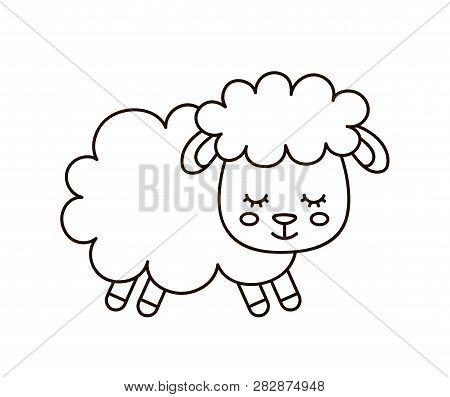 Cute Smilng Funny Sleeping Sweet Sheep. Vector Flat Line Cartoon Character Illustration Icon Design.