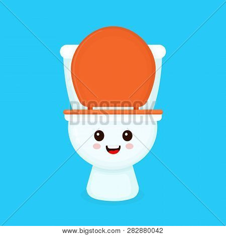 Cute Funny Smiling Happy Toilet Bowl. Vector Flat Cartoon Character Illustration Icon Design. Isolat