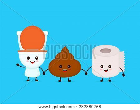 Cute Smiling Happy Funny Poop,toilet Paper And Toilet Bowl. Vector Flat Cartoon Character Illustrati