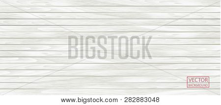Wood Vector White Banner In Vintage Style. Grunge Pattern Texture Background, Wooden Parquet Backgro