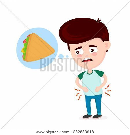 Young Suffering Sad Man Is Hungry. Thinks About Food, Fast Food, Sandwich. Vector Flat Cartoon Illus