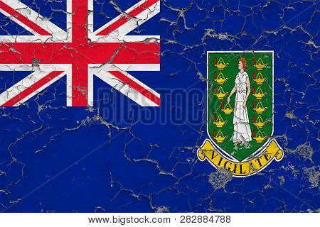 Flag Of British Virgin Islands Painted On Cracked Dirty Wall. National Pattern On Vintage Style Surf