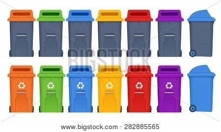 Garbage Containers And Types Of Trash. Recycle, Recycled Paper, Food, Waste, E-waste, Organic, Paper