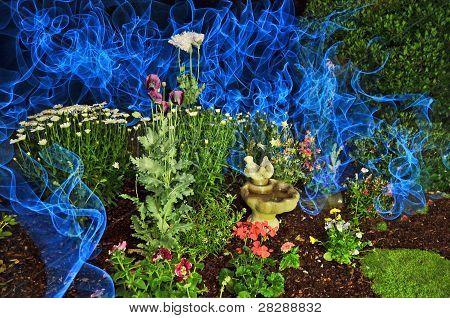 Garden With Blue Smoke