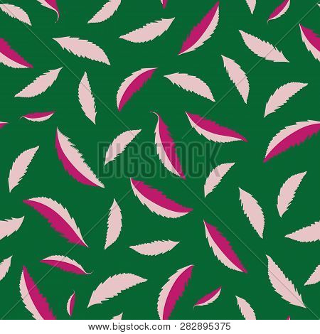 Freefalling Hand Drawn Pink Leaves On Dark Green Background. High Contrast Fresh Seamless Vector Pat