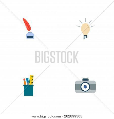 Set Of Original Icons Flat Style Symbols With Inkwell With Pen, Dslr Camera, Drawing Tools And Other