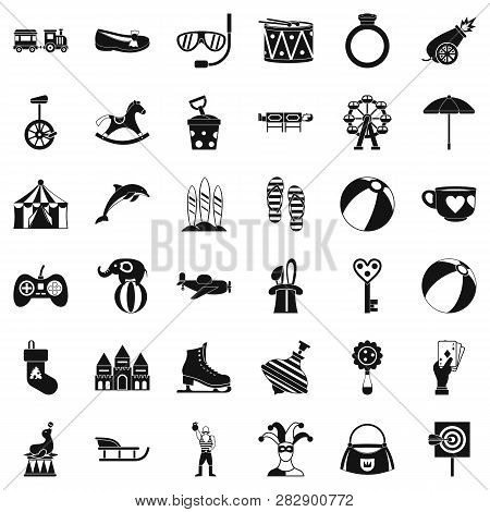 Children Circus Icons Set. Simple Style Of 36 Children Circus Icons For Web Isolated On White Backgr
