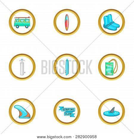 Surfing Equipment Icons Set. Cartoon Set Of 9 Surfing Equipment Icons For Web Isolated On White Back