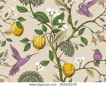 Floral Vector Seamless Pattern. Botanical Wallpaper. Plants, Birds Flowers Backdrop. Drawn Nature Vi