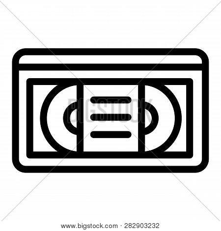 Videotape Line Icon. Vhs Tape Vector Illustration Isolated On White. Retro Video Cassette Outline St