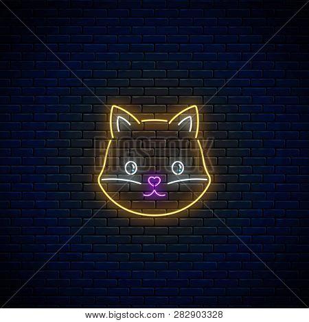 Glowing Neon Sign Of Cute Fox In Kawaii Style. Cartoon Happy Smiling Foxy In Neon Style.