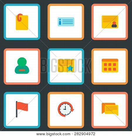 Set Of Task Manager Icons Flat Style Symbols With Starred Task, Remove Member, Description And Other