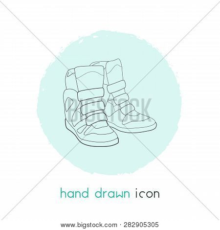 Wedge Sneakers Icon Line Element. Vector Illustration Of Wedge Sneakers Icon Line Isolated On Clean