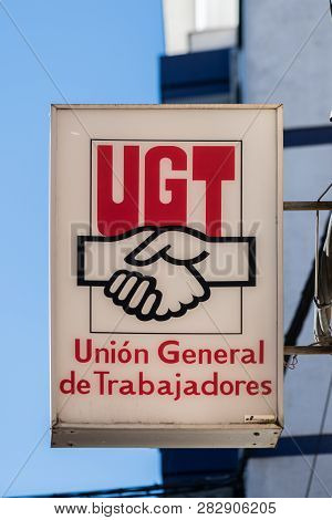 Caceres, Extremadura, Spain - February  02, 2019: Sign Of The Spanish Union Ugt, General Union Of Wo