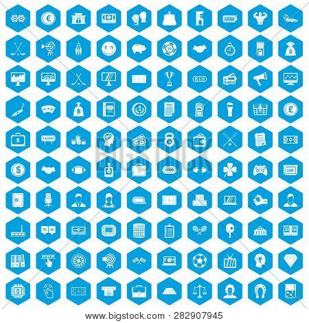100 Sweepstakes Icons Set In Blue Hexagon Isolated Illustration