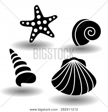 Black Sea Shells Icon Set, Collection Of Seashell, Clam, Nautilus Snail, Spiral Shell And Starfish.