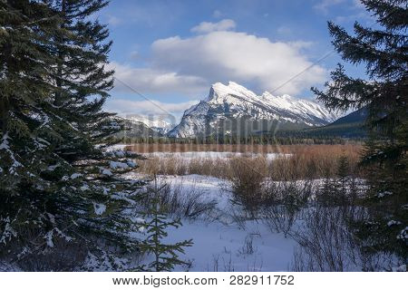 The Gorgeous Mount Rundle In Banff National Park In Alberta, Canada